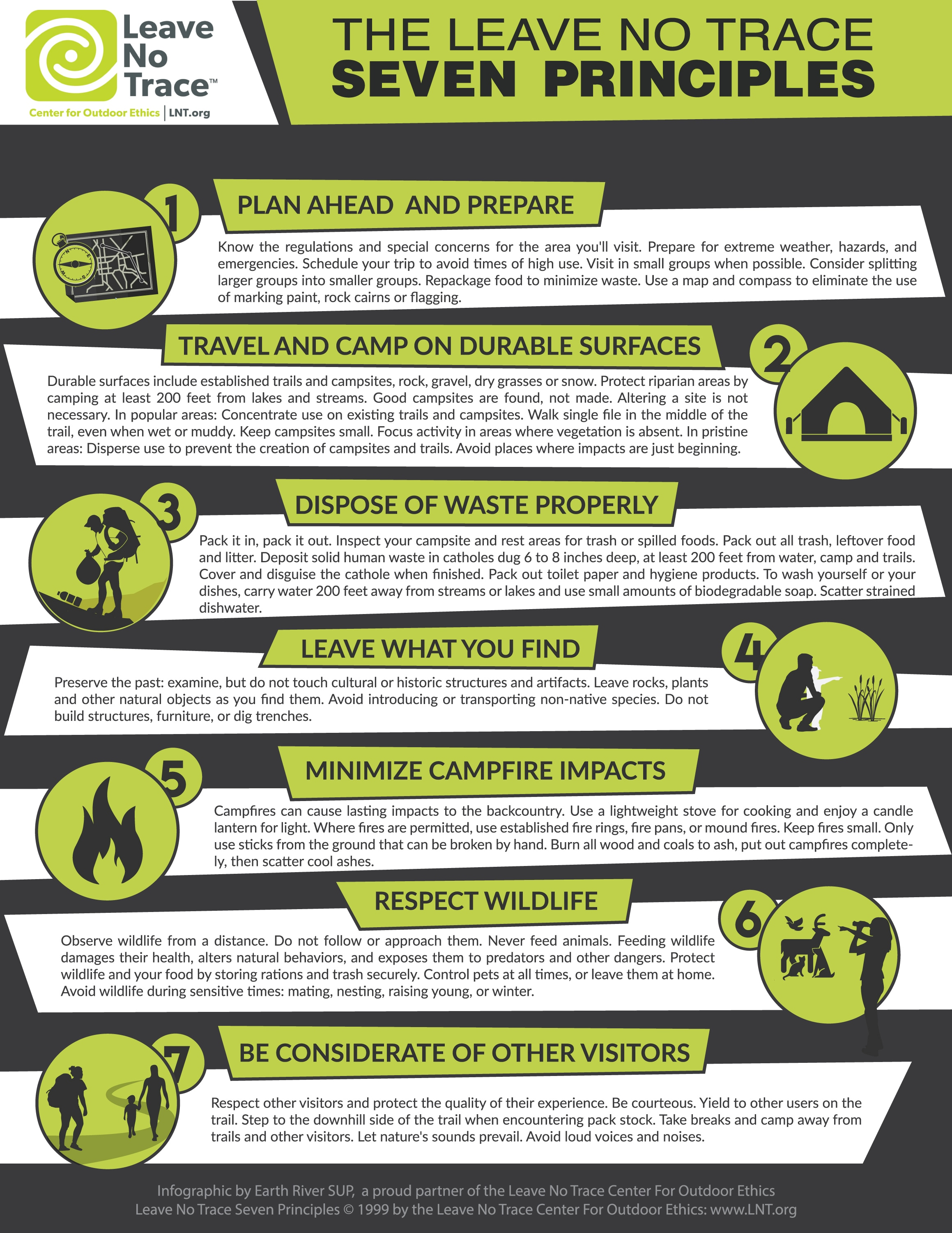 photo relating to Leave No Trace Printable called 7 Basics of Go away No Hint [Infographic] Entire world River SUP